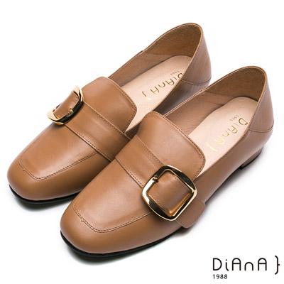 DIANA經典學院-率性2Way金屬皮帶釦休閒跟鞋-棕
