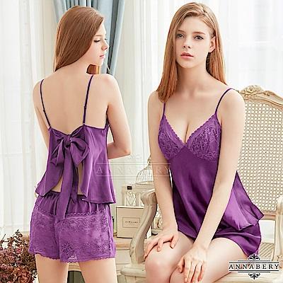 大尺碼 美背蕾絲柔緞上衣短褲二件組 紫L-2L Annabery