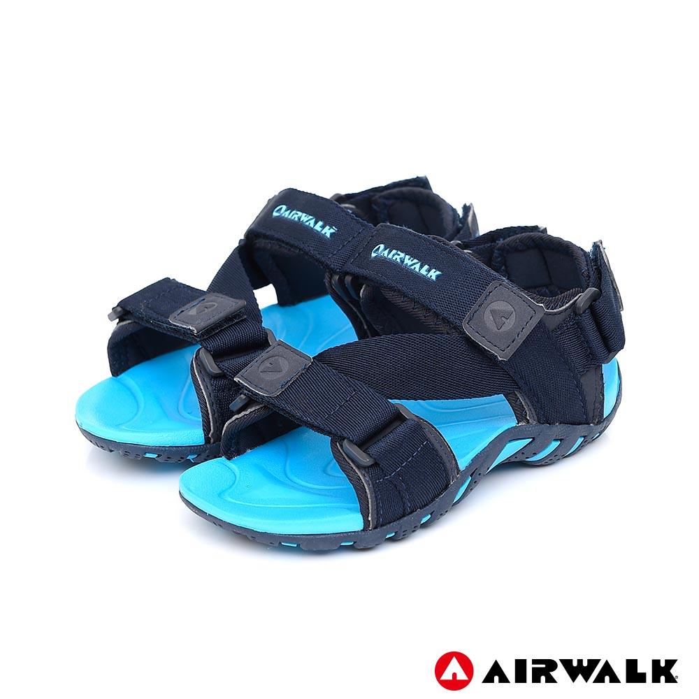 【AIRWALK】Z字造型運動涼鞋(童)-深藍