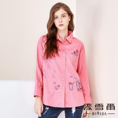 【麥雪爾】棉質童趣塗鴉刺繡襯衫