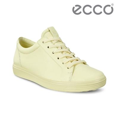 ECCO SOFT 7 W 純色皮革簡約輕巧休閒鞋 女鞋 果凍黃