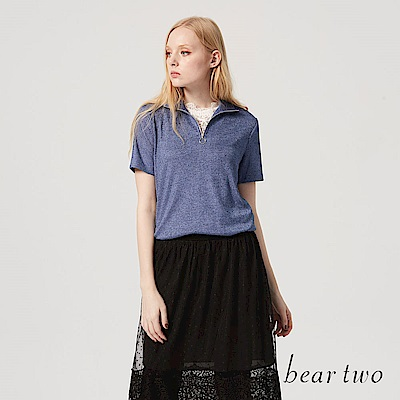 beartwo 羅紋中高領金屬環飾短袖上衣(三色)