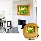 kiret 開窗造型防水壁貼 假窗 無窗戶化解風水開運牆貼 後花園翠綠庭院-50x70