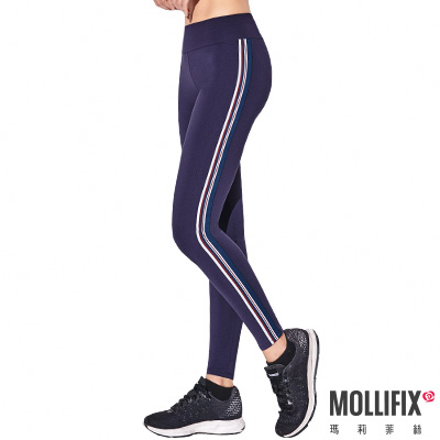 Mollifix 瑪莉菲絲 活力拼接條紋動塑褲 (藏青)