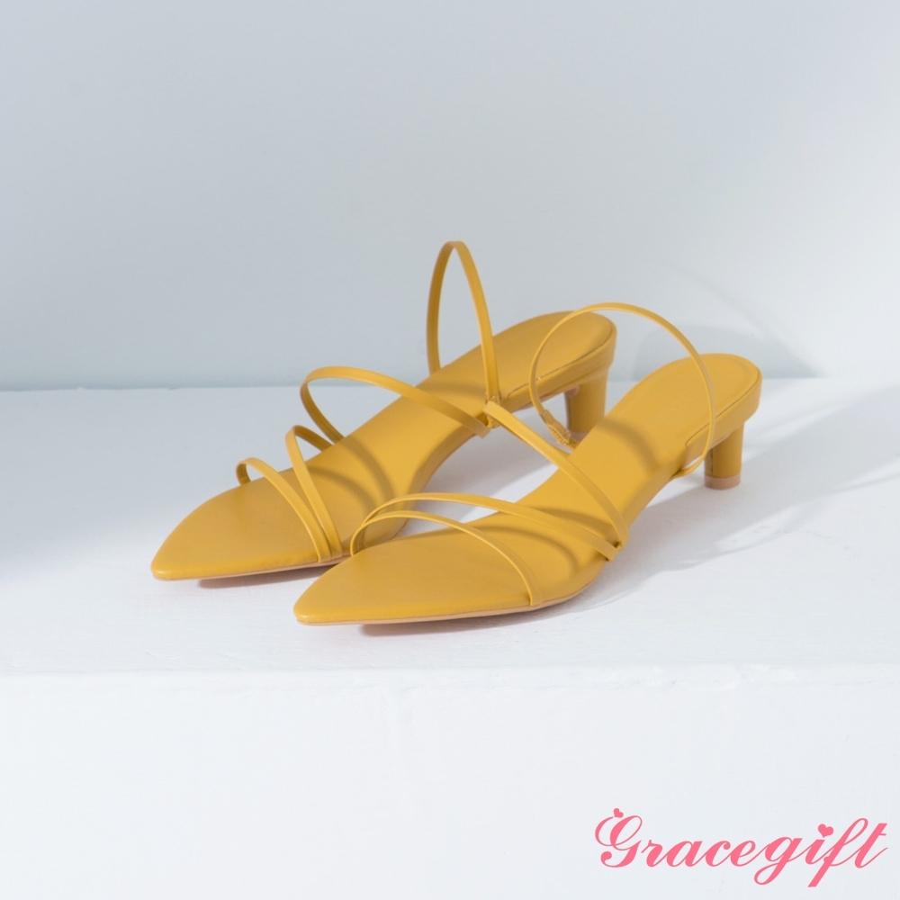 Grace gift-尖頭層次細帶中跟涼鞋 黃