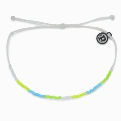 Pura Vida 美國手工 NEON OMBRE小彩珠 霓虹綠臘線可調式衝浪手鍊手環