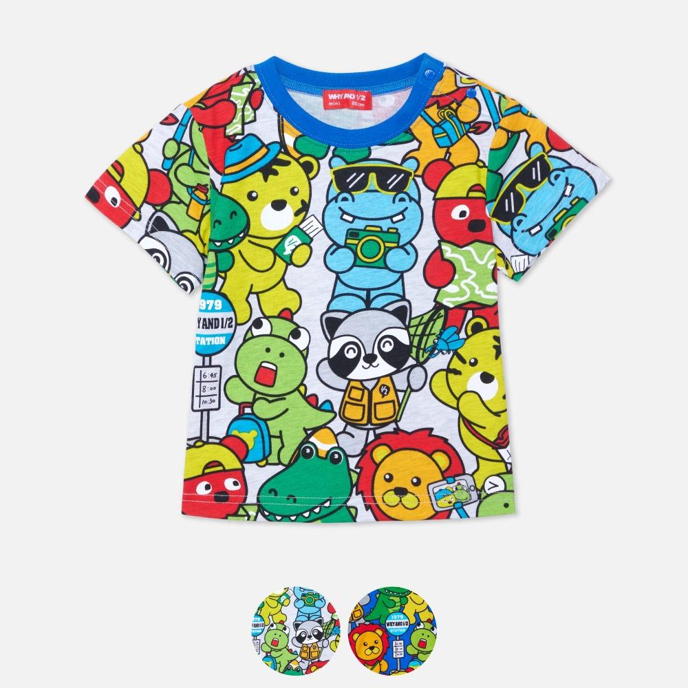 WHY AND 1/2 mini 印花棉質T恤 多色可選 1Y ~ 4Y (灰色)