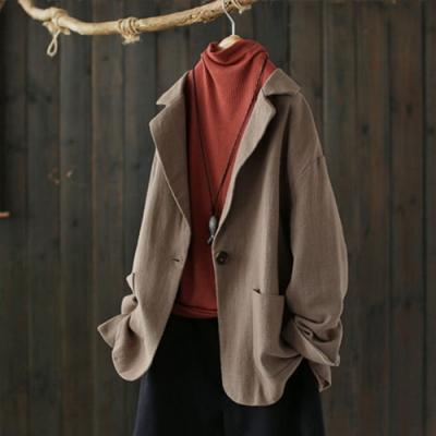 一粒扣質感亞麻小西裝外套寬鬆上衣-設計所在
