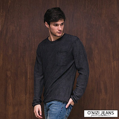 ONIZI 舒適仿舊口袋針織衫-男-鐵灰