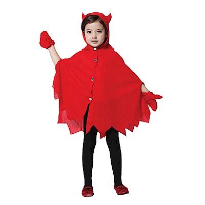 摩達客 萬聖節派對-可愛紅色小魔女惡魔牛角(二件組合-連帽斗蓬披風/手套)