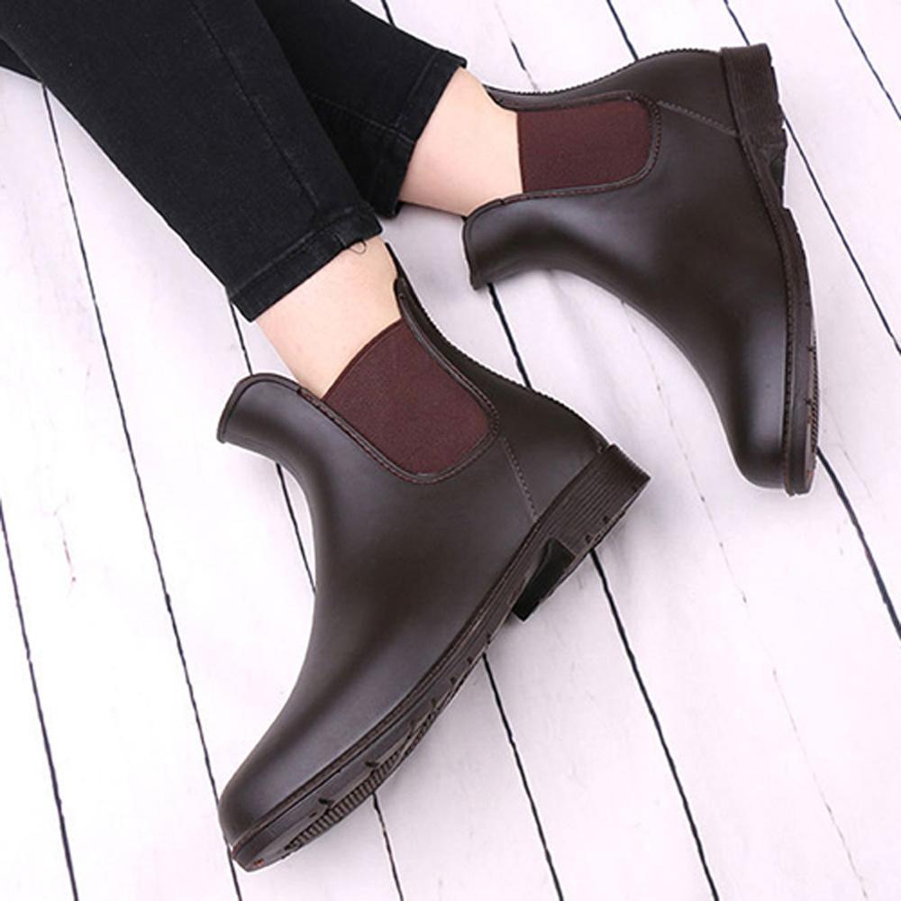 KEITH-WILL時尚鞋館 簡約厚底雨靴防水二用雨鞋-咖啡色