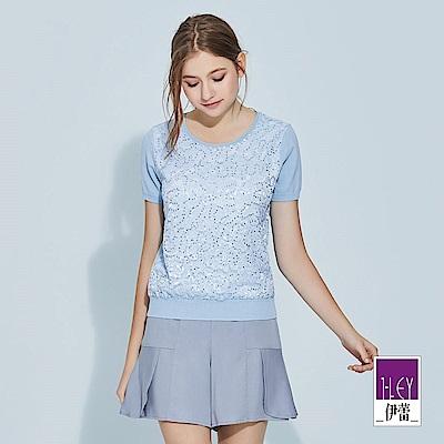 ILEY伊蕾 精緻手縫亮片蕾絲圓領針織上衣(藍)