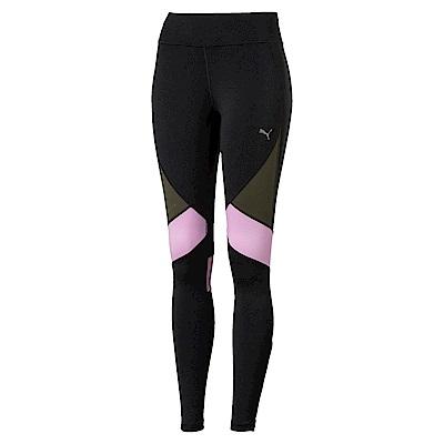 PUMA-女性慢跑系列撞色緊身褲-黑色-歐規