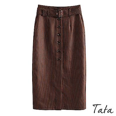 格紋排扣高腰半身裙 TATA