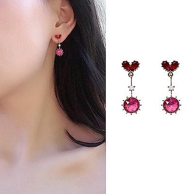 梨花HANA  無耳洞韓國好氣色愛心粉紅鑽耳環夾式