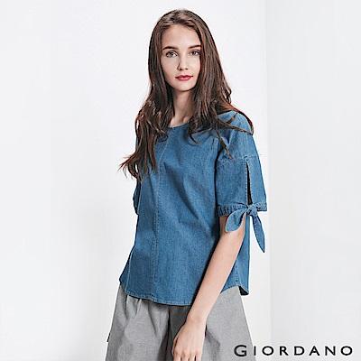 GIORDANO 女裝牛仔綁袖寬版T恤-71 淺藍