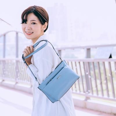 【Maria Carla】多格層素色質感側背包_霧藍_都會極簡系列