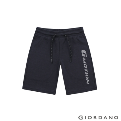 GIORDANO 童裝G-MOTION反光LOGO運動短褲-66 標誌海軍藍