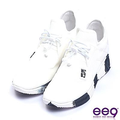 ee9 率性風采異材質拼接綁帶運動休閒鞋 白色
