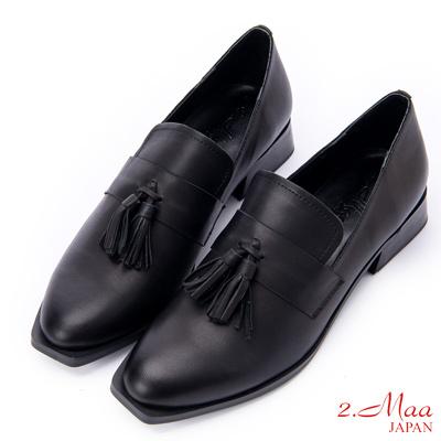 2.Maa 美肌線條打蠟羊皮樂福尖頭跟鞋 - 黑
