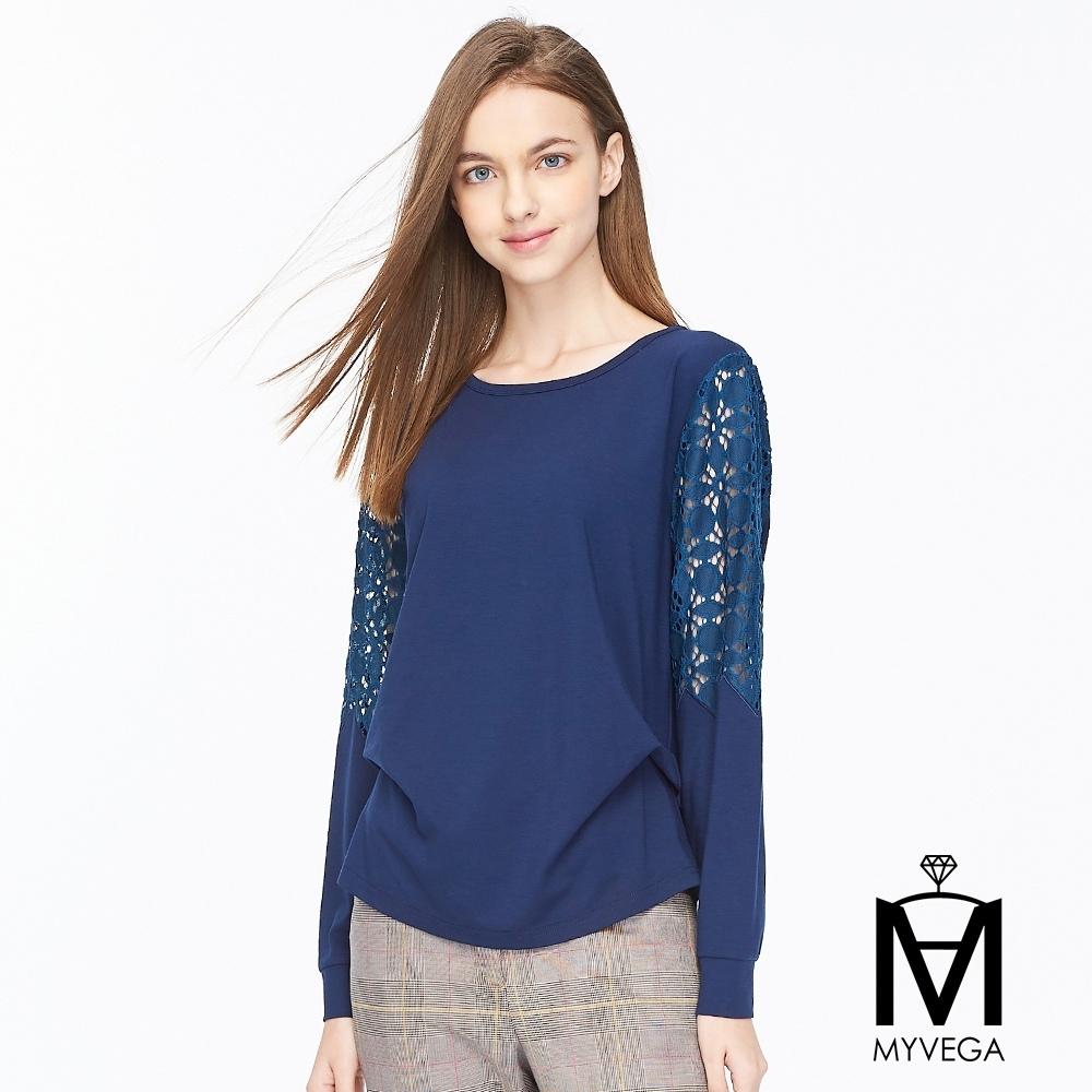 麥雪爾 MA純棉拼接鏤空蕾絲上衣-深藍