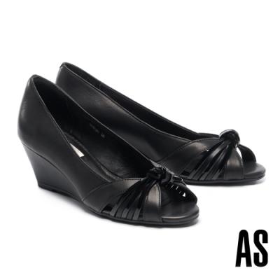 高跟鞋 AS 扭節條帶羊皮魚口楔型高跟鞋-黑