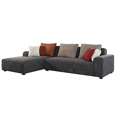 品家居 莎瓦娜灰亞麻布L型沙發(左右可選)-280x175x70-免組