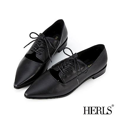 HERLS 法式女紳 全真皮馬甲鏤空尖頭牛津鞋-黑色