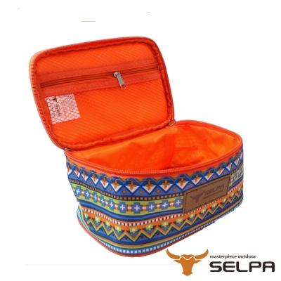 韓國SELPA 民族風收納袋 化妝包 盥洗包 水藍鑽石款