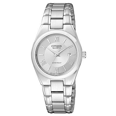 CITIZEN 時光旅的戀人石英女錶(EU3060-51A)-銀x28mm