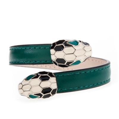 BVLGARI 寶格麗 Serpenti系琺瑯雙蛇頭小牛皮手環(祖母綠色/S)