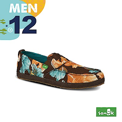 SANUK 男款US12 大地印花窄版休閒鞋(咖啡色)
