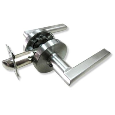 加安 LB1X203P 現代風系列通道鎖 60mm 磨砂銀 圓套盤 水平把手鎖 水平鎖