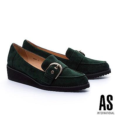 厚底鞋 AS 率性風經典金屬釦全真皮厚底鞋-綠