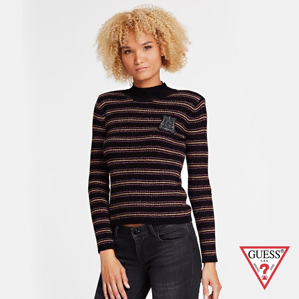 GUESS-女裝-條紋高領針織上衣-黑紅 原價1990