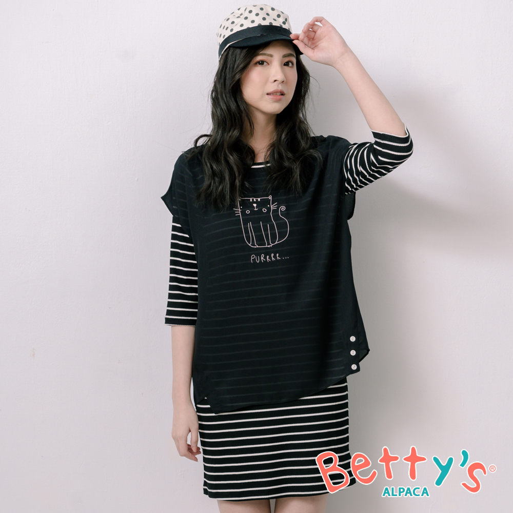 betty's貝蒂思 異材質拼接貓咪假兩件洋裝(黑色)