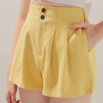 AIR SPACE 雙釦打摺顯瘦短褲(黃)