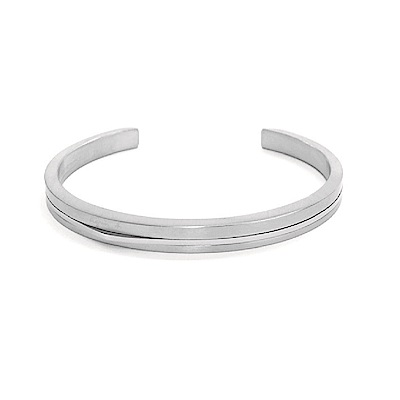 agnes b.經典雙色C型白鋼女手環銀