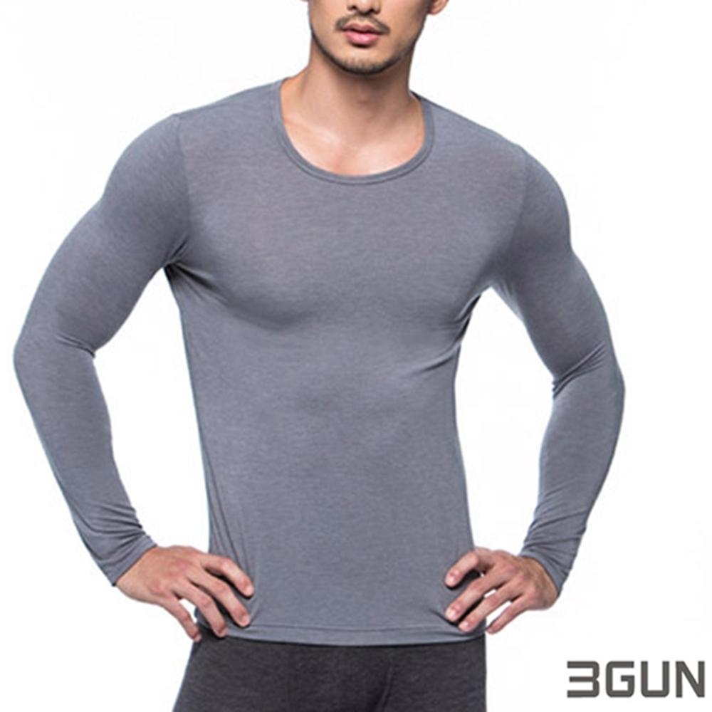 3GUN 三槍牌 型男長袖圓領勁熱發熱衣 灰色2件組