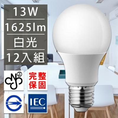 歐洲百年品牌台灣CNS認證LED廣角燈泡E27/13W/1625流明/白光 12入