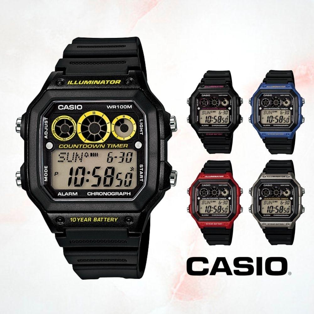 CASIO卡西歐 方形設計電子錶(AE-1300WH)