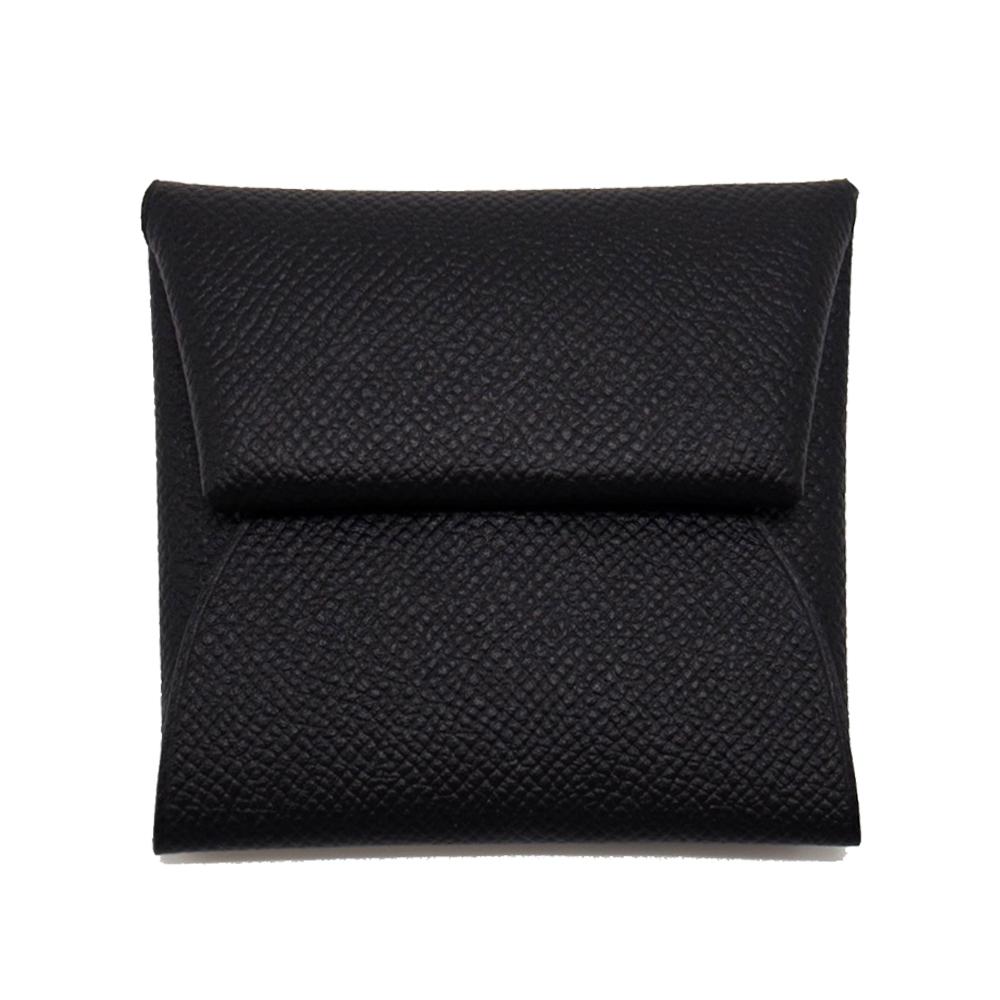 HERMES 經典 Bastia 牛皮 方型暗釦零錢包 (黑色 Noir) Epsom