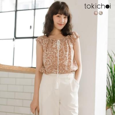 東京著衣 溫柔甜美滿版碎花綁帶荷葉邊上衣-S.M.L(共二色)