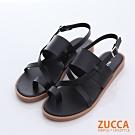 ZUCCA-皮革環交錯繞趾涼鞋-黑色 -z6602bk