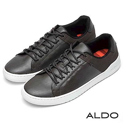 ALDO 拼接色塊綁帶式白色厚底休閒男鞋~內斂深灰