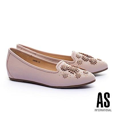 低跟鞋 AS 立體花朵造型全真皮內增高樂福低跟鞋-粉