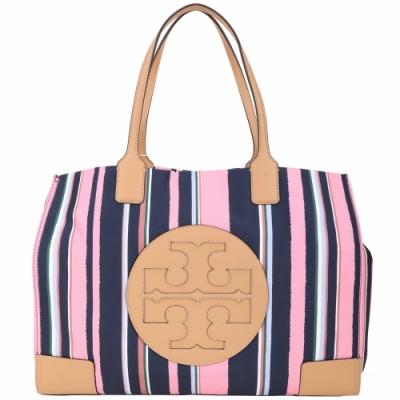 TORY BURCH Ella 大款 駝色皮革拼色條紋帆布包(粉藍色)