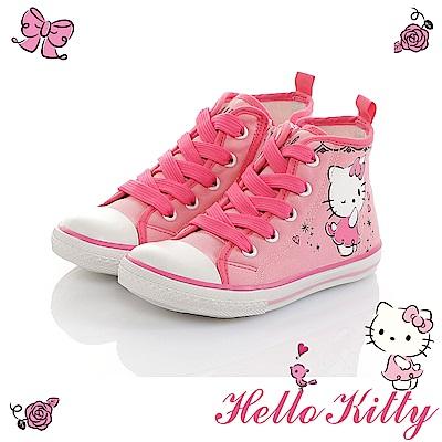HelloKitty童鞋 少女系列 輕量減壓休閒高筒帆布鞋-粉