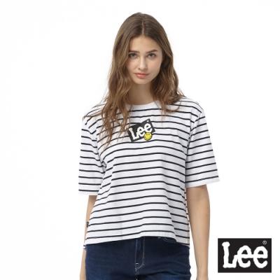 Lee 短T LEE X SMILEY聯名條紋圓領 女 白 寬鬆版