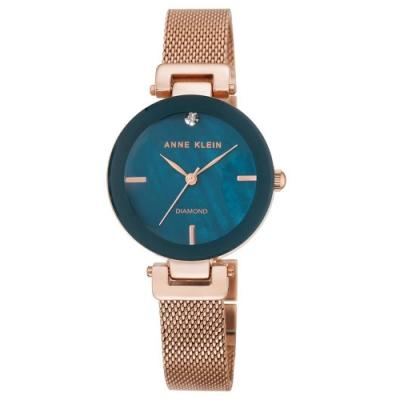 Anne Klein 雍華馥郁鑽眼絕美腕錶-土耳其藍珍珠母貝x30mm